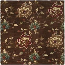 Safavieh Handmade Jardine Gardens Brown Wool Rug (6' Square) - 6' - Thumbnail 0