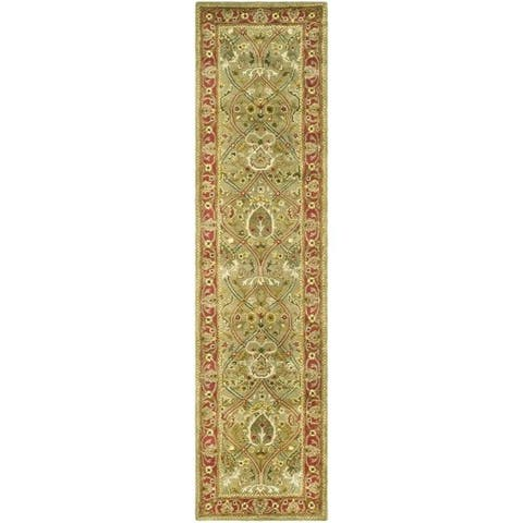 "Safavieh Handmade Mahal Green/ Rust New Zealand Wool Runner (2'6 x 16') - 2'6"" x 16'"