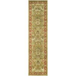Safavieh Handmade Mahal Green/ Rust New Zealand Wool Runner Rug - 2'6 x 20' - Thumbnail 0