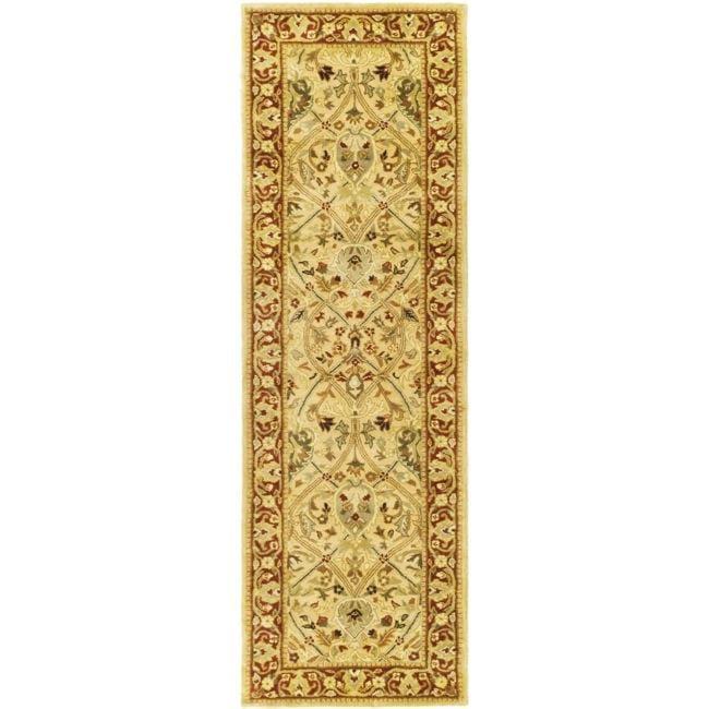 Safavieh Handmade Mahal Ivory/ Rust New Zealand Wool Runner Rug - 2'6 x 20'