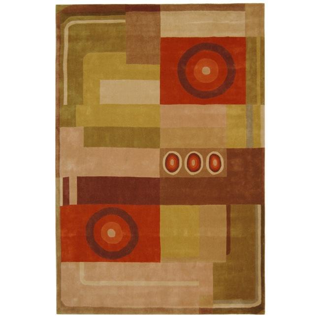Safavieh Handmade Rodeo Drive Modern Abstract Khaki/ Rust Wool Rug (6' x 9')