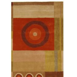 Safavieh Handmade Rodeo Drive Modern Abstract Khaki/ Rust Wool Rug (6' x 9') - Thumbnail 1