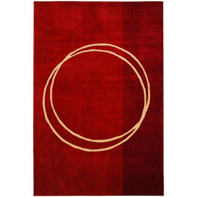 Safavieh Handmade Rodeo Drive Modern Abstract Red/ Ivory Wool Rug - 8' x 11'