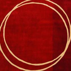 Safavieh Handmade Rodeo Drive Modern Abstract Red/ Ivory Wool Rug (8' x 11') - Thumbnail 2