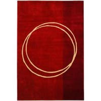 Safavieh Handmade Rodeo Drive Modern Abstract Red/ Ivory Wool Rug - 8' X 11'