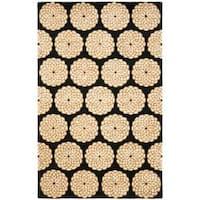 Safavieh Handmade Rodeo Drive Floral Black/ Ivory Wool Rug - 5' x 8'