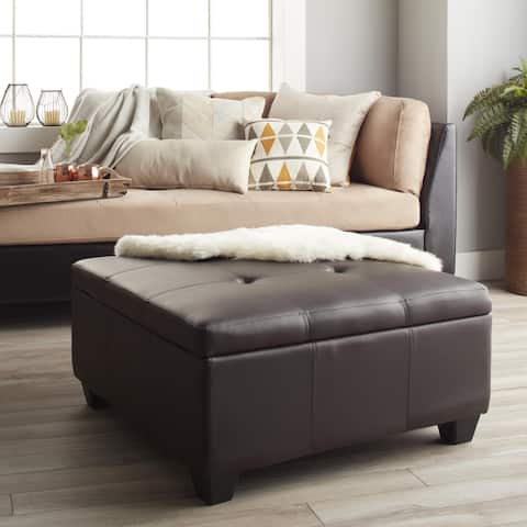 Copper Grove Gowlland 36-inch Square Hinged Storage Bench/ Ottoman