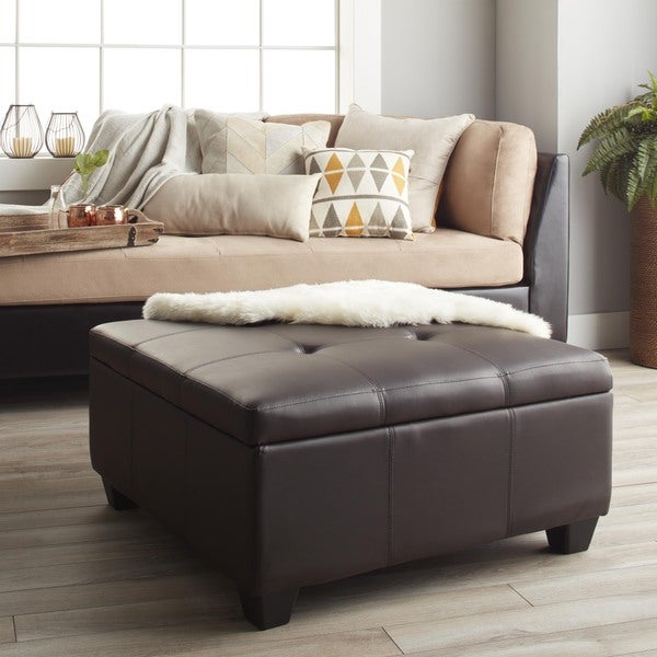 Vanderbilt 36 Inch Square Hinged Storage Bench Ottoman