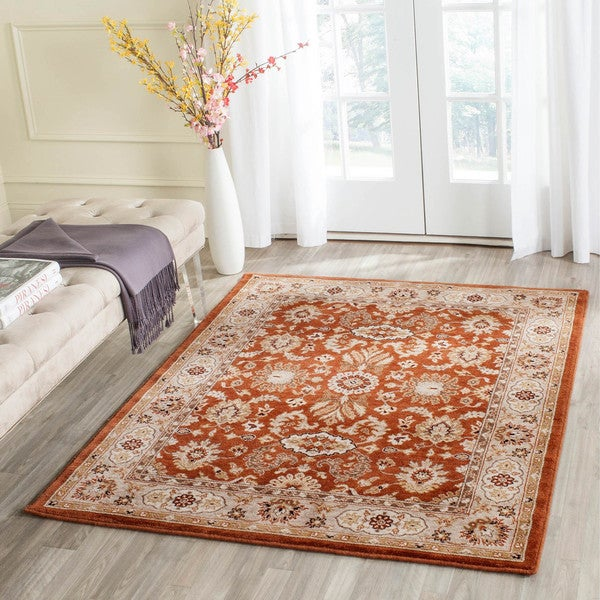 Safavieh Handmade Majesty Rust/ Beige New Zealand Wool Rug (5'3 x 7'6)