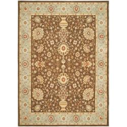 Safavieh Handmade Majesty Brown/ Light Blue N.Z. Wool Rug (5'3 x 7'6)