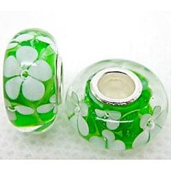 Murano Inspired Glass White Flower and Green Charm Beads (Set of 2)
