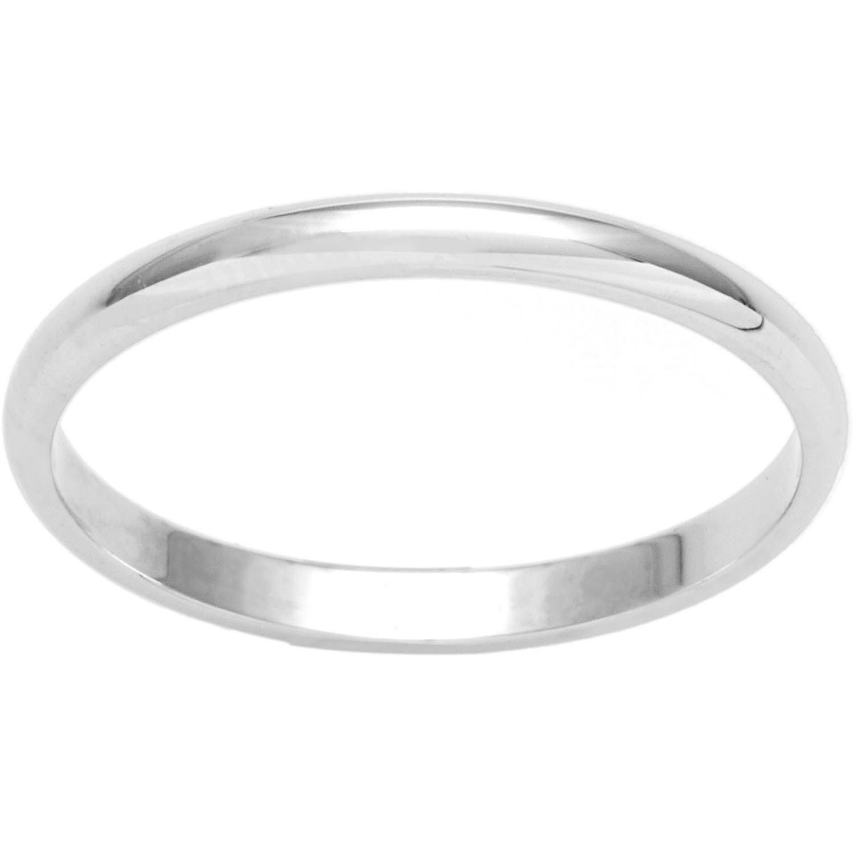 10K White Gold 2mm Lightweight Half Round Band Ring