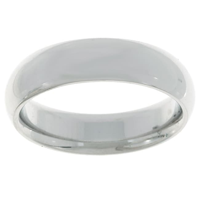10k White Gold Men's Half-round 4-mm Wedding Band