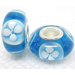 Murano-inspired Glass Blue and White Flower Charm Beads (Set of 2)