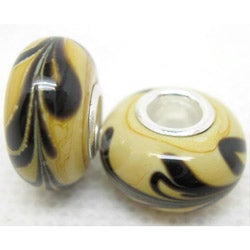 Murano-inspired Glass Yellow/ Black Swirl Charm Beads (Set of 2)