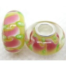Murano Inspired Glass Pink Swirls/ Green Dots Charm Beads (Set of 2)