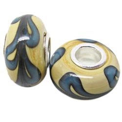 Murano Inspired Glass Yellow and Blue Charm Beads (Set of 2)