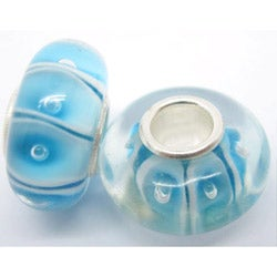 Murano-inspired Glass Blue/ White Striped Charm Beads (Set of 2)