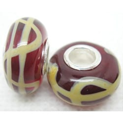 Murano Inspired Glass Deep Red/ Yellow Lines Charm Beads (Set of 2)