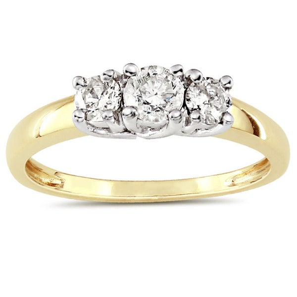 Miadora 10k Two-tone Gold 1/2ct TDW Diamond 3-stone Ring