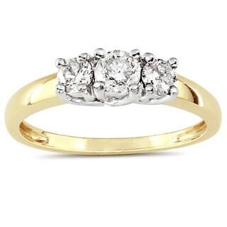 Miadora 10k Two-tone Gold 1/2ct TDW Diamond 3-stone Ring