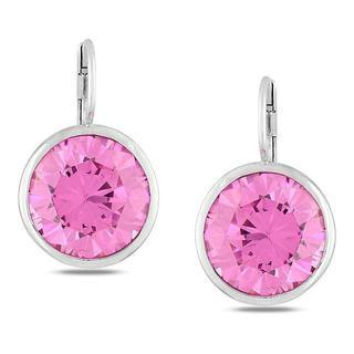 Miadora Sterling Silver Pink Cubic Zirconia Earrings