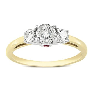 L'Amour Enrose by Miadora 14k Two-tone Gold 1/2ct TDW Diamond and Pink Sapphire Ring (G-H, I2-I3)