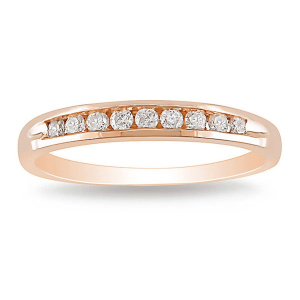 Miadora 10k Rose Gold 1/4ct TDW Diamond Wedding Band
