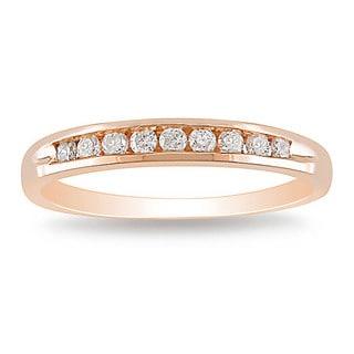 Miadora 10k Rose Gold 1/4ct TDW Diamond Wedding Band