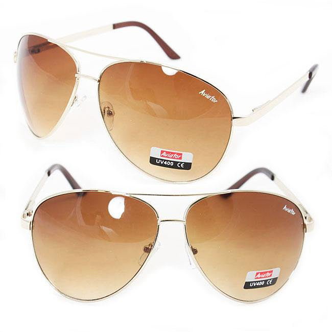 Goldtone Metal Frame Unisex Aviator Sunglasses - Thumbnail 0