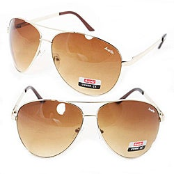 Goldtone Metal Frame Unisex Aviator Sunglasses