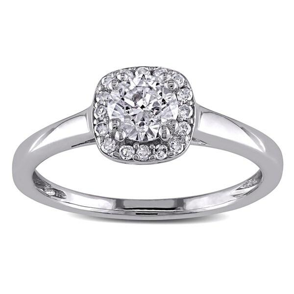 Miadora 10k White Gold 3/5ct TDW Diamond  Halo Ring (G-H, I2-I3)