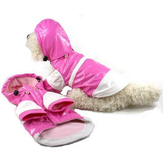 Pet Life Small Pink and White Hooded Raincoat