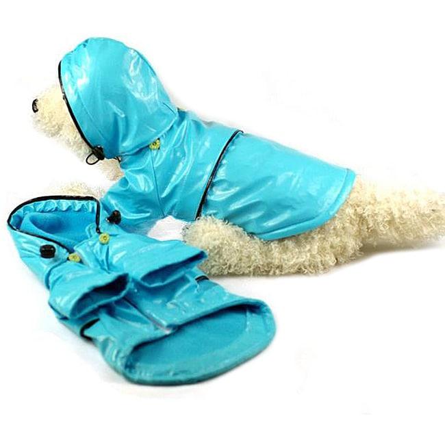 Petlife Medium Blue Hooded Raincoat, Size M