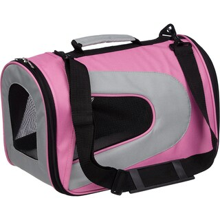 Pet Life Airline Approved Folding Collapsible Large Pink Mesh Carrier Crate