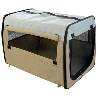 Folding Zippered Khaki Pet Carrier