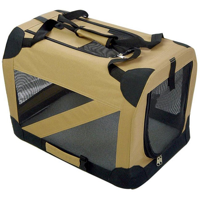 Pet Life Small 360-degree View Khaki Pet Dog Crate Carrier