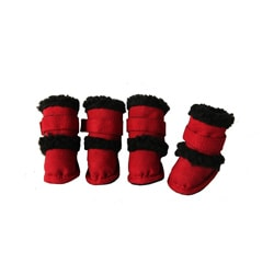 Duggz Medium Snuggly Shearling Red Pet Boots (Set of 4)