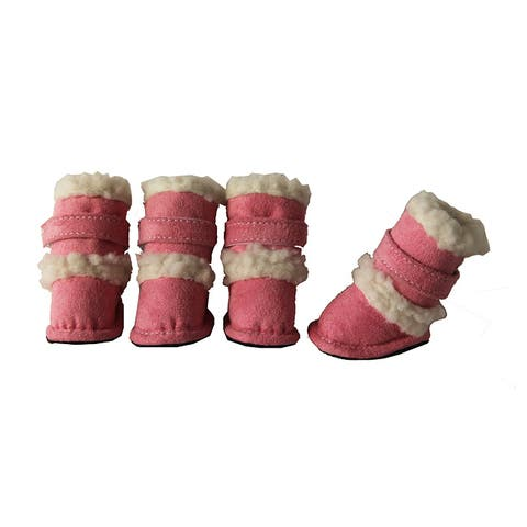 Duggz Large Light Pink Shearling Pet Boots w/ Sherpa Trim (Set of 4)