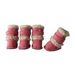 Duggz Large Light Pink Shearling Pet Boots w/ Sherpa Trim (Set of 4)