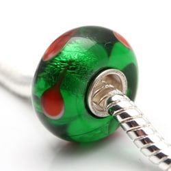 Murano Inspired Glass Red and Green Drop Charm Beads (Set of 2)