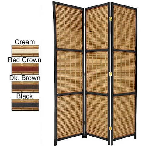 Handmade 6' Woven Wood Accent Room Divider