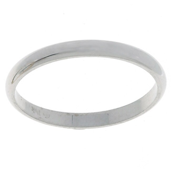 10k White Gold Women's Half-round 2-mm Wedding Band