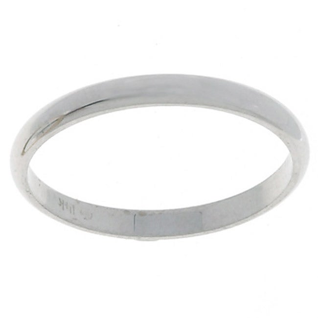 10k White Gold Women's Half-round 2-mm Wedding Band (5.5)...