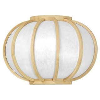 Wood 13.5-inch Harajuku Round Natural Wall Sconce (China)