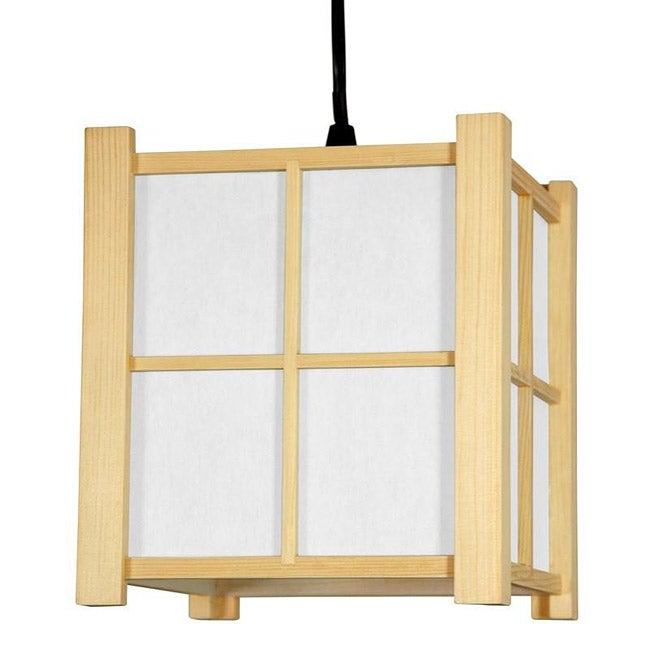 OrientalFurniture Wood and Paper 7-inch Boku Japanese-sty...