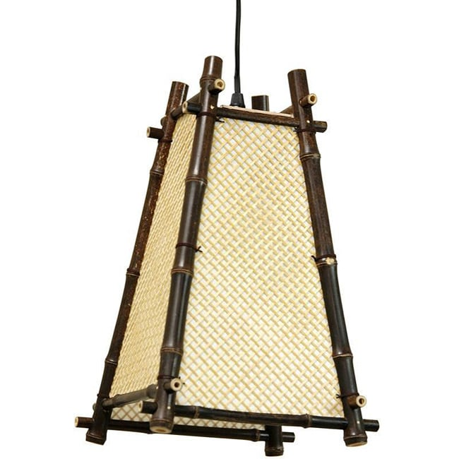 Handmade Bamboo 14-inch Itashi Japanese-style Hanging Lan...