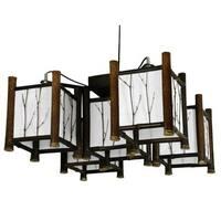 Handmade Bamboo Watashi Japanese-style 5-light Hanging Lantern (China)