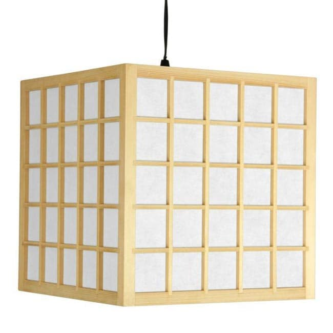 Wood 12.5-inch Japanese-style Window Pane Hanging Lantern (China)
