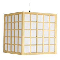 Wood 12.5-inch Japanese-style Window Pane Hanging Lantern (China) - Thumbnail 0